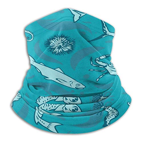 Patrón de pez espada (2) calentador de cuello, bufanda para cuello, tocado para clima frío, bufanda turbante