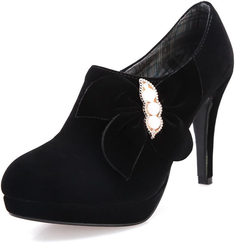 1TO9 Womens Bowknot Bead Platform Black Polyurethane Pumps-shoes - 5 B(M) US