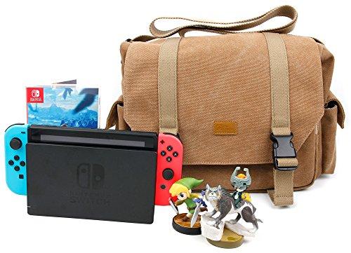 """DURAGADGET Sac Toile de Coton Couleur Sable Compatible avec Console de Jeux Nintendo Switch écran 6,2"""" / Switch Lite - Compartiments modulables"""