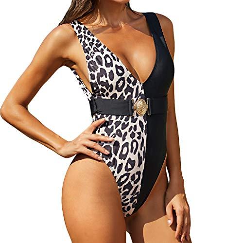 Yabhoo Damen Badeanzug Leopard Tankinis Einteiliger Bikini Mit V-Ausschnitt Bademode Sexy Strandbikini Jumpsuit Schwimmanzug Push-Up Beach Badebekleidung