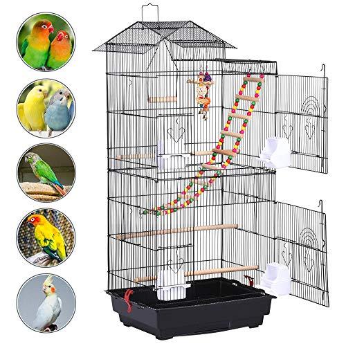 Yaheetech Gabbia per Uccelli Pappagalli Inseparabili Calopsite Voliera in Metallo e Posatoio in Legno con Giocattoli Nera