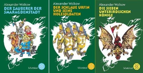 3 Bände von Alexander Wolkow als Taschenbuch (1. Der Zauberer der Smaragdenstadt + 2. Der schlaue Urfin und seine Holzsoldaten + 3. Die sieben unterirdischen Könige)