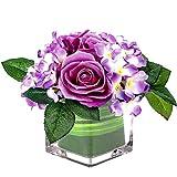 Fule Artificial Silk Rose Flower Centerpiece Arrangement in vase for Home Wedding Decoration (Light Purple)