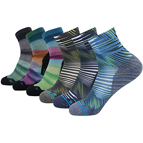Crazy Running Socks, HUSO Men's Women's Assorted Fashion Style Striped Printed Athletic Gift Socks 6 pairs (Multicolor,L/XL)