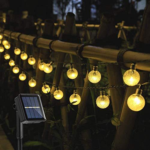 CanKun 15 Ft 30LED Solar String Lights Outdoor 8 Modes Transparent Globe Solar Powered Lights Waterproof Fairy Lights Decorative Lights for Garden Party Christmas,15ft *30LED