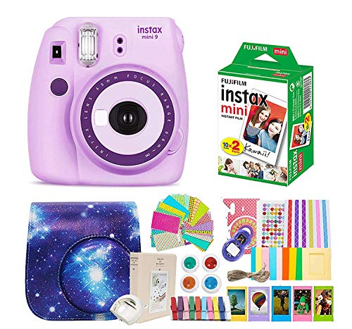 Fujifilm Instax Mini 9 Camera Purple +Fuji Instax Mini Film + Instax Mini 9 Case + Instax Accessories Kit Bundle, Instant Camera Gift Sets,Polaroid Camera Purple - Light Purple