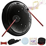 Steel Tongue Drum 6 Inch 8 Notes Handpan Drum Percussion Instrument with Travel Bag Music Book and Mallets for Musical Education Concert Mind Healing Yoga Meditation (Starry Black)