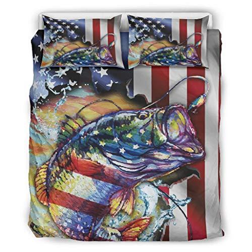 Juego de ropa de cama de 3 piezas con diseño de la bandera de Bass Fishing, ropa de cama moderna, suave y cómoda, color blanco, 168 x 229 cm