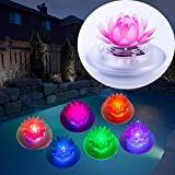 Solar Pond Lights, 2 Pack Lotus Floating Pool Lights Led Color Changing Waterproof Pond Submersible Decoration Lamp Lights Outdoor Swimming Pool