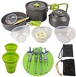 Juego Utensilios Cocina al Aire Libre, 1 Set Camping COCKETWARE Set FOTFFIRE Kettle Kit Kit Kit Mano Pan Suministros de Cocina para mochileros al Aire Libre Senderismo Pesca de Picnic