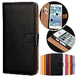 Roar Handy Hülle für Motorola Moto G (G2, 2.Generation), Handyhülle Schwarz, Tasche Handytasche Schutzhülle, Kartenfach & Magnet-Verschluss