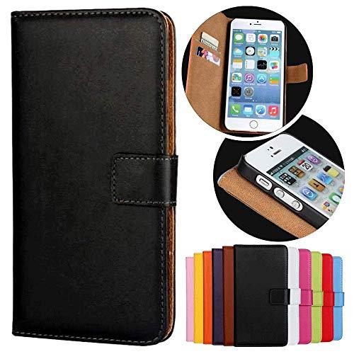 Roar Handy Hülle für Motorola Moto G (G1, 1.Generation), Handyhülle Schwarz, Tasche Handytasche Schutzhülle, Kartenfach & Magnet-Verschluss