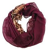 Mujer bufanda bufanda (404b), Continuo, verano bufanda, redondo bufanda, Animal Print, color rojo, modo de mujer, ropa para mujer.