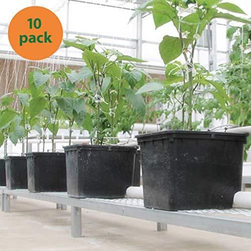 10 - Pack Hydroponic Dutch Bucket Pot, 11 Liter, with Siphon Elbows, 12' x 10' x 9', Black