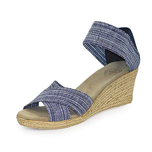 Cannon Criss-Cross Espadrille Wedge Sandal - Denim - Size 9 - by Charleston Shoe Co.