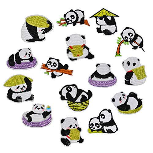 15PZ Parches Sticker para Ropa Parche Termoadhesivo Infantiles Panda Lindos Parches Apliques Bordados para Ropa, DIY Coser o Planchar Parche Decorativos para Ropa Camiseta Jean Sombrero Pantalon Bolsa