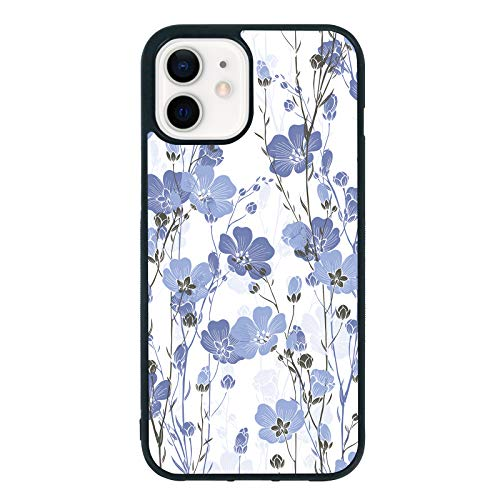 Phone Case for Girls Compatible with iPhone 12 Mini - Shockproof Protective TPU Aluminum Cool Cute Flower Cell Phone Case Designed for iPhone 12 Mini Case for Girls Woman Blue White (Blue Flower)