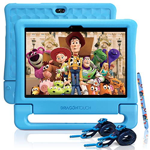 Dragon Touch KidzPad Y88X 10 Kids Tablets - Installed Disney Audio Books, 2GB RAM 32GB ROM, Quad-Core Processor, 10.1 IPS HD Display, Micro HDMI, Android 9.0 Pie, 5G WiFi, HDMI Port, Straps and Stylus