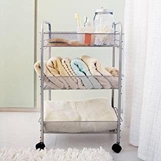 "Design Ideas - Metal Mesh Rolling Cart (Silver) (24.5""H X 10.5""W X 16.5""D)"