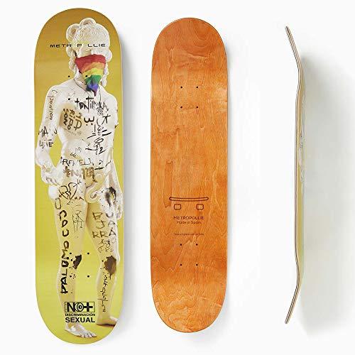 Metropollie Tabla de Skate Estauta con Grafiti, Skate para Niños Niñas Adolescentes Adultos Principiantes, Tabla de 7 Capas 100% Madera de Arce Canadiense Hard Rock, Amarillo, 8.25 Pulgadas
