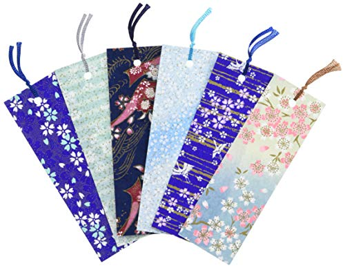 Yuzen Washi carta giapponese segnalibro (ciliegio e blu modello 6pezzi)