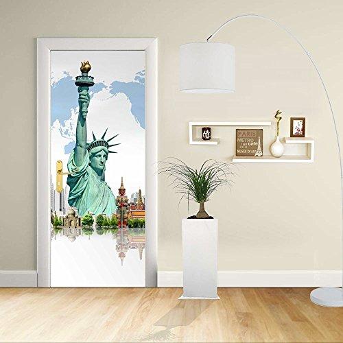 GRAFIC Autocollant de Porte - Design- Statue de la liberté de New York et d'autres Monuments - Décoration adhésive pour Portes Impression sur PVC (CM 100X200)