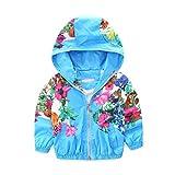 Mud Kingdom Toddler Girls Jackets Floral with Hood 4T Blue
