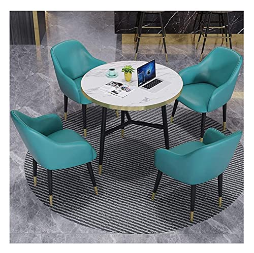 Conjunto de mesa de comedor para cocina o decoraci Negociación Mesa y silla Combinación Moderno 4 Sillas Área de descanso Departamento Hotel Ropa Tienda Balcón Mesa redonda 80 cm ( Color : Lake Blue )