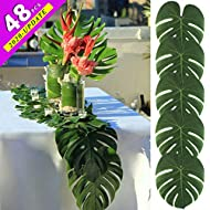 AerWo 48pcs Large Artificial Tropical Palm Leaves, 13.8 x 11.4inch, Hawaiian Luau Party Jungle Beach Theme Decorations for Table Decoration Accessories
