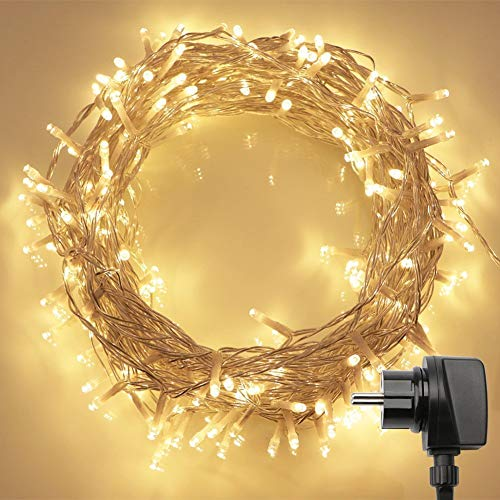 200er LED Lichterkette mit Fernbedienung & Timer (8 Modi, Warmweiß, 4,8W, Dimmbar)