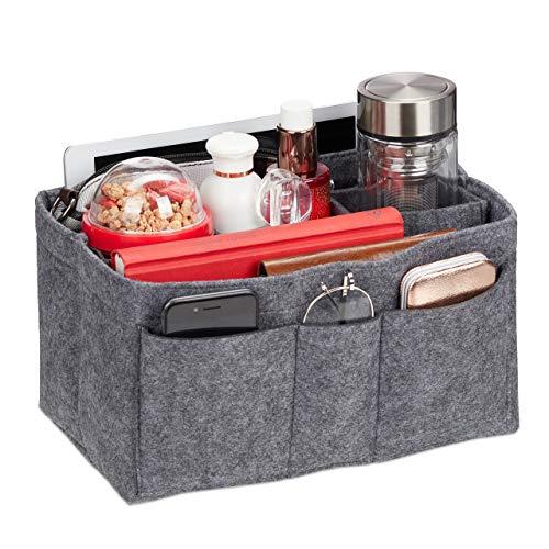 Relaxdays Taschenorganizer Handtasche, Filz, entnehmbare Fächer, Handtaschenorganisator Damen, Größe M, dunkelgrau