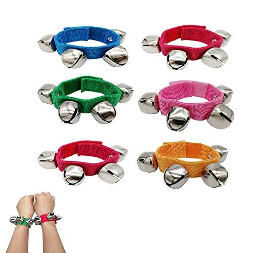 Baby Wrist Bells, 6 Pack Multicolor Wrist Jingle Bells Bracelet Bells Musical Rhythm Instrument, Wrist Ankle Bells Band for Kids Baby Toddler Children Party Festival