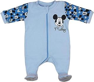 Neugeborene Jungen Baby-Strampler Schlafoverall Langarm mit Fu/ß Baumwolle Mickey Mouse GR/ÖSSE 68 74 80 86 Blau Baby-Schlafanzug 6 9 12 Monate Geschenk Disney