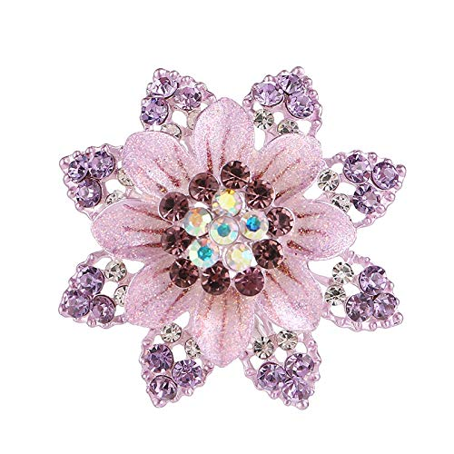 Carl Hamilton Classic Crystal Flower Brooch Enamel Pin Rhinestone Floral Flower Corsage Pins and Brooches Women Coat Accessories-Purple-