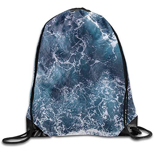 RJ Unique Drawstring Backpack,Hintergrund-Blau-Wellen des Meeres Mit Seeschaum-Zugschnur-Satz-Strahln-Mund-Turnhallen-Sack-Umhängetaschen