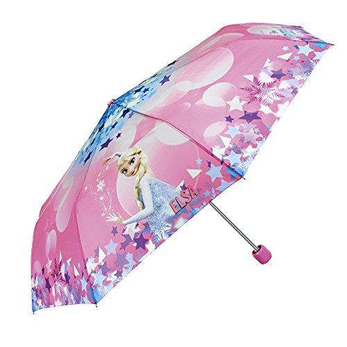 PERLETTI Disney Frozen Kinder Schirm für Mädchen - Taschenschirm mit ELSA - Leichter Kompakter und Windfester Regenschirm - Pink - 7+ Jahren - Durchmesser 91 cm