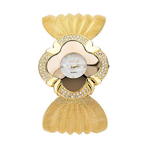 Yusea Reloj de pulsera para mujer con correa de malla, elegante mariposa dorado/plata, reloj de cuarzo, analógico, fino, con correa de malla, esfera redonda para mujeres
