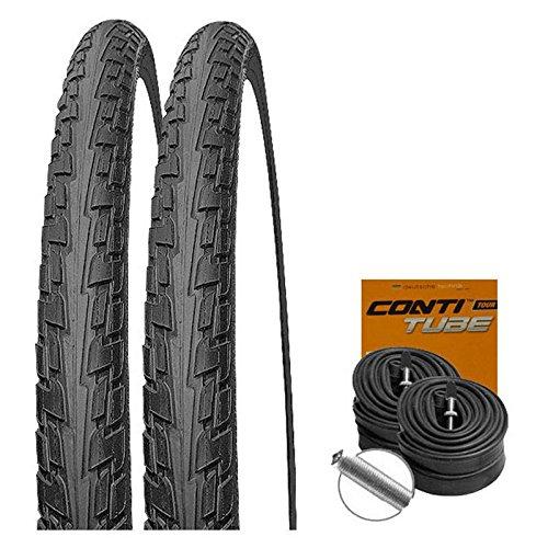 Continental Set: 2 x Fahrrad Reifen Ride Tour schwarz 47-622 / 28x1.75 + Conti SCHLÄUCHE Autoventil