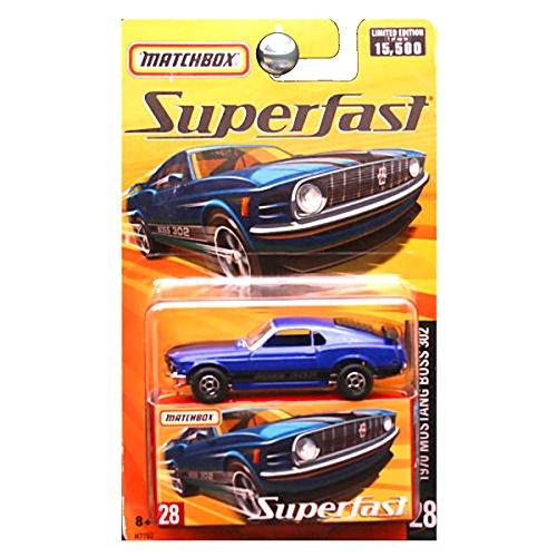 2005 Matchbox Superfast 1970 Ford Mustang Boss 302 Blue #28 by Mattel