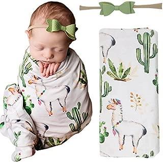 Posh Peanut Baby Swaddle Blanket - Large Premium Knit Viscose from Bamboo - Infant Swaddle Wrap, Receiving Blanket and Headband Set, Baby Shower Newborn Gift, Registry (Llama)