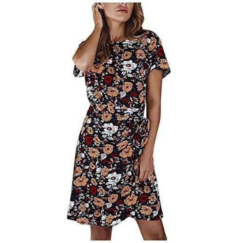 Buy Women's O-Neck Short Sleeve Slim Mini Dress - Bow Floral Printing Split Midi Casual Dress Party ...