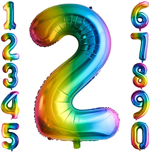 100CM Riesen Regenbogen Zahl 2 Folien Luftballons Number Mylar Helium Zahlenballon Hochzeit Geschenk-Deko Einhorn Geburtstag Party Dekoration für Mädchen Junge