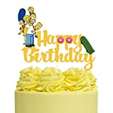 Gold Glitter The Simpsons Happy Birthday Cake Topper, Simpsons Family Cake Topper, The Simpsons Themed Birthday Party Supplies