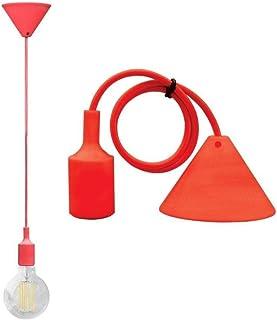 Alcapower - Suspension luminaire avec câble et douille E27 - Coloris disponibles: blanc, rouge, vert, bleu, no...