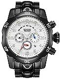 Relojes de cuarzo para hombre, calendario luminoso, correa de acero, reloj de cuarzo, resistente al agua, cronógrafo, reloj de negocio, color blanco y negro