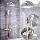 LLYY Duschset Duschsäule Wasserhahn Regendusche Duscharmatur Duschkopf Duschsystem inkl Handbrause Shower Set Höhenverstellbar