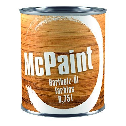McPaint Hartholzöl für den Außenbereich, speziell für Möbel, zum natürlichen Auffrischen des Holzes, wasserverdünnbar, farblos, 0,750L