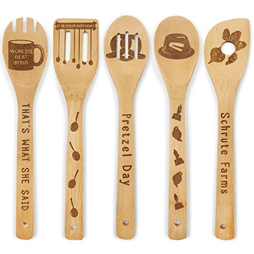 The Office Wooden Spoons Set of 5 - The Office TV Show Merchandise Novelty Kitchen Cooking Utensils Engraved Burned Bamboo Spoons Housewarming Birthday Wedding Gift Idea Funny Kitchen Decor
