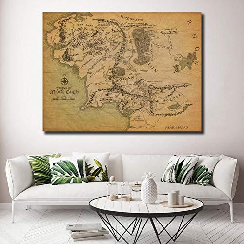 EPSMK Pintura Decorativa HD Mapa de la Tierra Media Pintura sobre Lienzo Impresión Sala de Estar Decoración para el hogar Arte Moderno de la Pared Pintura al óleo Cartel-60x80cm
