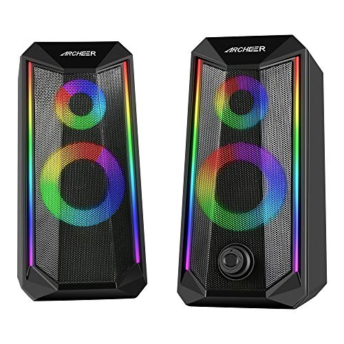 PC Lautsprecher ARCHEER RGB Gaming Lautsprecher Boxen Wired USB Computer Mini Speaker mit LED Beleuchtung 10W Stereo Lautsprecheranlage für Notebook Laptop Desktop Smartphone Tablet